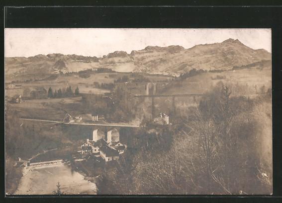 Foto-AK Bruggen, Eisenbahnbrücken über die Sitter