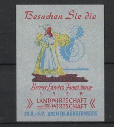 Reklamemarke Bremen-Bürgerweide, Landesausstellung für Landwirtschaft 1959, Bäuerin mit Rechen und Getreidebündel