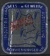 Reklamemarke Schwenningen, Industrie-Handels- und Gewerbe-Ausstellung 1955, Messelogo