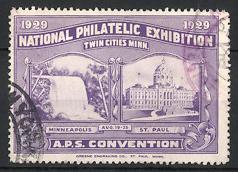 Reklamemarke St. Paul, Minneapolis, National Philatelic Exhibition 1929, Wasserfall, Minnesota State Capitol
