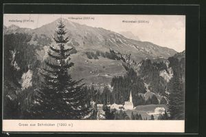 AK Schröcken, Teilansicht mit Heiterberg, Höferspitze und Widderstein