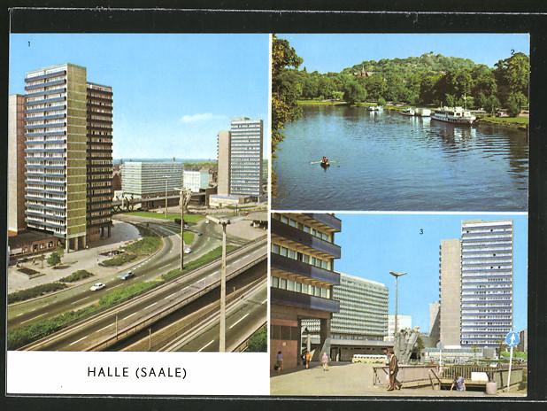 AK Halle, Hochstasse am Ernst-Thälmann-Platz, Hochhäuser am Ernst-Thälmann-Platz
