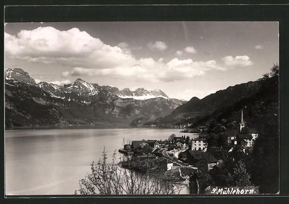 AK Mühlehorn, Blick auf die Ortschaft und den See
