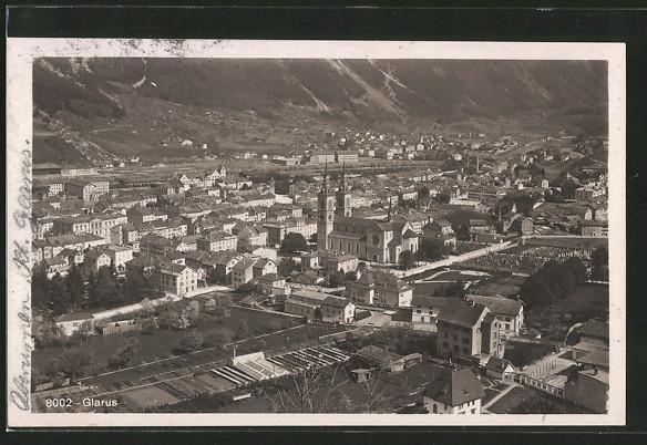 AK Glarus, Teilansicht mit Kirche