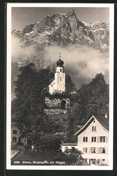 AK Glarus, Burgkapelle mit Wiggis
