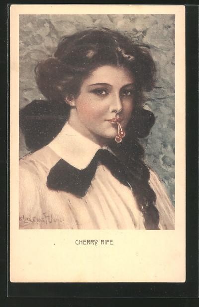 Künstler-AK Clarence F.Underwood: Cherry Ripe, hübsche junge Dame hält Kirschen zwischen ihren Lippen