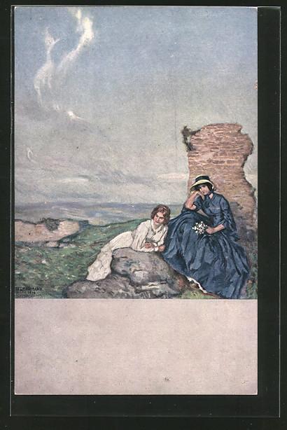 Künstler-AK Ernst Liebermann: auf einer Bergeshöhe sitzen zwei Frauen
