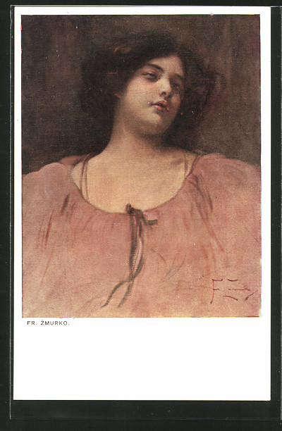 Künstler-AK sign. Fr. Zmurko: Korpulente Frau in weitem Kleid