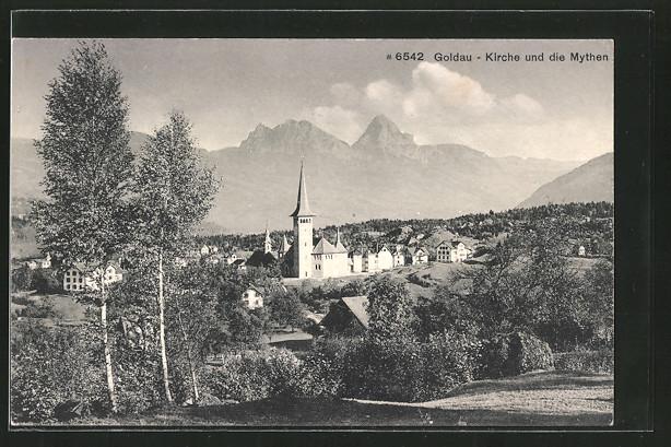 AK Goldau, Blick auf Kirche und Mythen