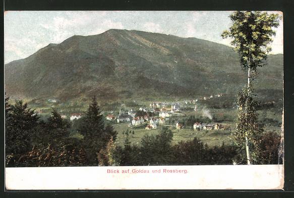 AK Goldau, Blick auf den Ort und den Rossberg