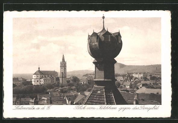 AK Leitmeritz / Litomerice, Blick vom Kelchaus gegen das Domgebiet