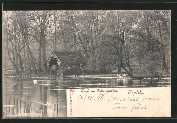 AK Teplitz Schönau / Teplice, Teich im Schlossgarten