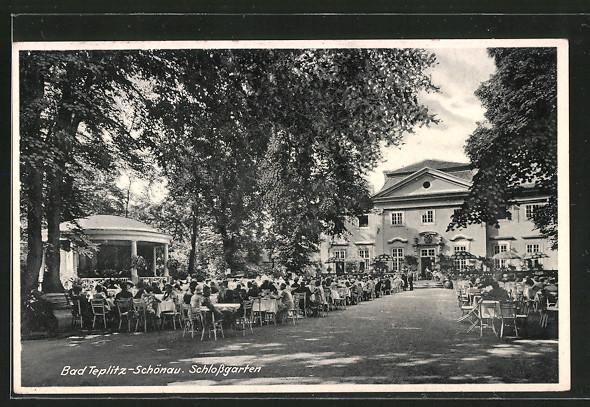 AK Teplitz Schönau / Teplice, Schlossgarten