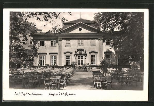 AK Teplitz Schönau / Teplice, Kaffee-Schlossgarten