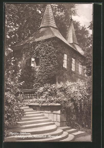AK Teplitz Schönau / Teplice, Schlossgarten, Kollostuck-Türmchen
