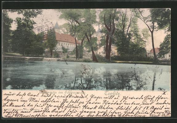 AK Teplitz Schönau / Teplice, Teichpartie im Schlossgarten