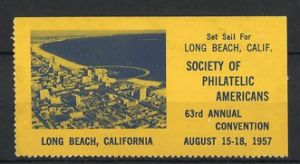 Reklamemarke Long Beach, Philatelic Convention 1957, Ortsansicht
