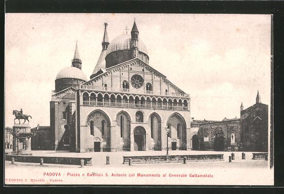 AK Padova, Piazza e Basilica S. Antonio col Monumento al Generale Gattamelata