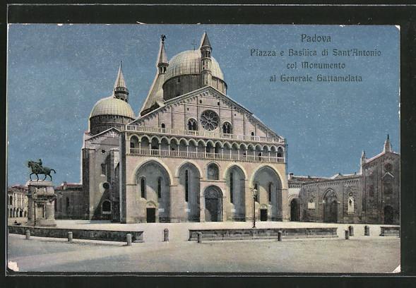 AK Padova, Piazza e Basilica di Sant'Antonio col Monumento al Generale Gattamelata
