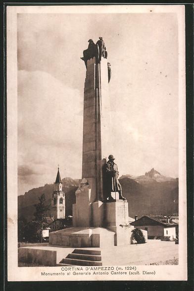 AK Cortina d'Ampezzo, Monumento al Generale Antonio Cantore