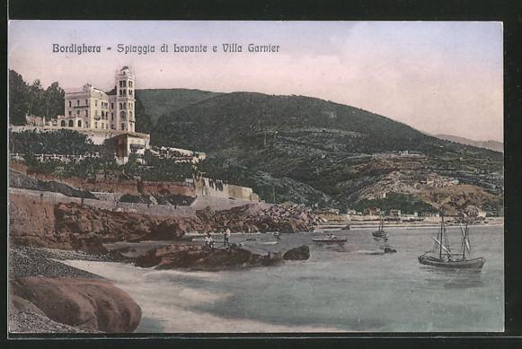 AK Bordighera, Spiaggia di Levante e Villa Garnier