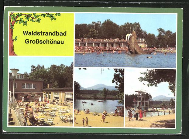 AK Grossschönau, Motive aus dem Waldstrandbad