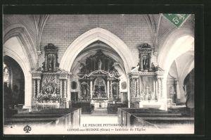 AK Condé-sur-Huisne, intérieur de l'église