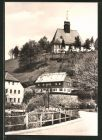 AK Olbernhau, Blick auf die Kirche des Ortsteils Oberneusch�nberg