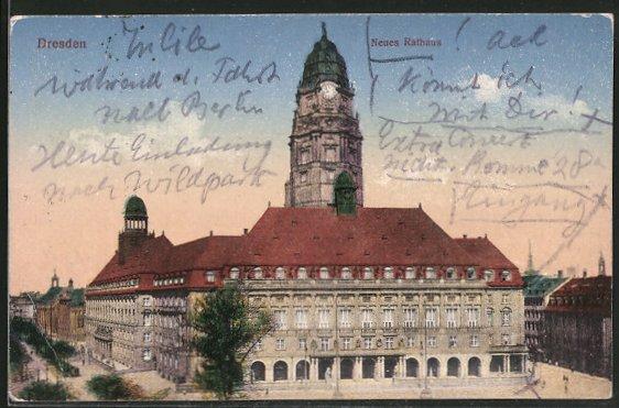 AK Dresden, Neues Rathaus mit Ringstrasse