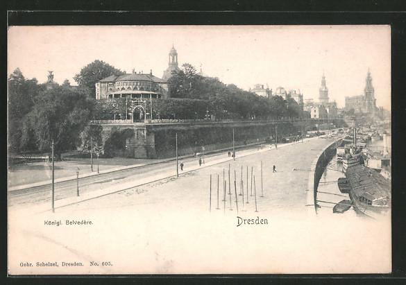 AK Dresden, Königl. Belvedére mit Kath. Hofkirche