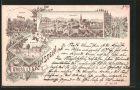 Lithographie B�renstein, Ortsansicht, Schloss, Marktplatz, ca. 1890 Verlag Fleck