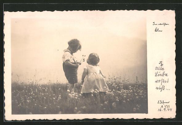 Foto-AK Adalbert Defner: Im weissen Klee, Kinder auf blühender Wiese