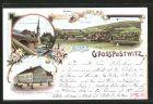 Lithographie Grosspostwitz, Neue Spreebr�cke, Gasthaus zum Forsthaus, Ortsansicht