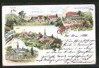 Lithographie Jauernick, Gasthaus Wilhelmsh�he, Kirche, Ortsansicht
