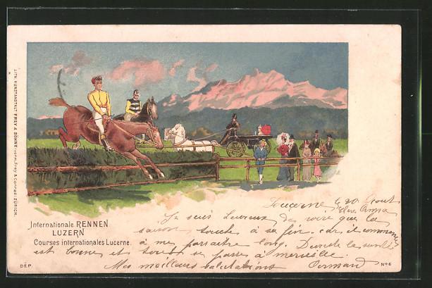 Lithographie Luzern, Internationales Pferderennen, Courses internationale, Pferd springt über ein Hindernis, Pferdesport