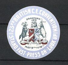 Reklamemarke Bradford, 23rd British C.E. Convention 1913, Wappen