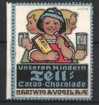 Künstler-Reklamemarke Paul Höfer, Tell Kakao & Schokolade, Hartwig & Vogel AG, Kinder naschen Schokolade und Kakao