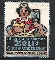 Künstler-Reklamemarke Paul Höfer, Tell Kakao & Schokolade, Hartwig & Vogel AG, Mutter und Kinder mit Kakao & Schokolade