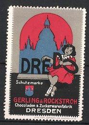 Reklamemarke Dresden, Dredo Schokolade, Gerling & Rockstroh, Mädchen & Stadtsilhouette