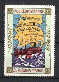Reklamemarke Halle, Halla Kakao & Schokolade, Bernh. Most GmbH, Segelschiff