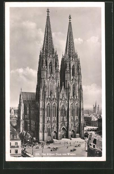 AK Köln, Der Kölner Dom von Westen