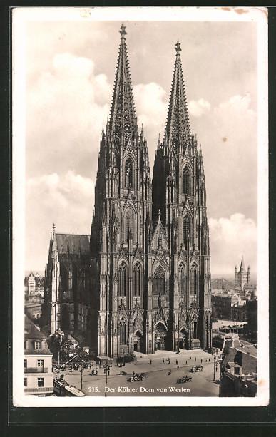 AK Köln, Der Kölner Dom von Westen; Strassenbahn