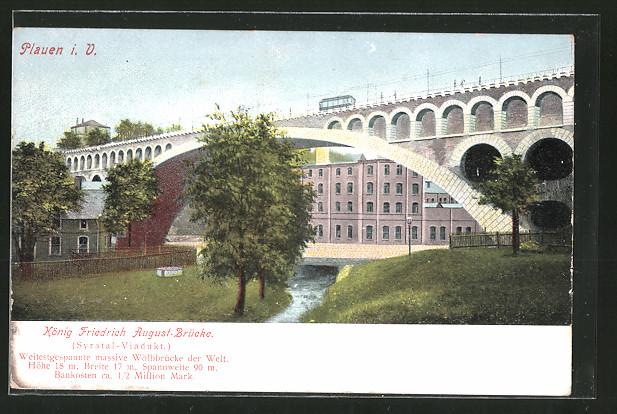 AK Plauen, König Friedrich August-Brücke, Strassenbahn