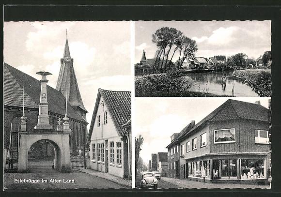AK Estebrügge, Kirche, Geschäft, Ortsansicht
