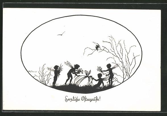 Künstler-AK Elsbeth Forck: Schattenbilder, Herzliche Ostergrüsse!, Feen mit Ei