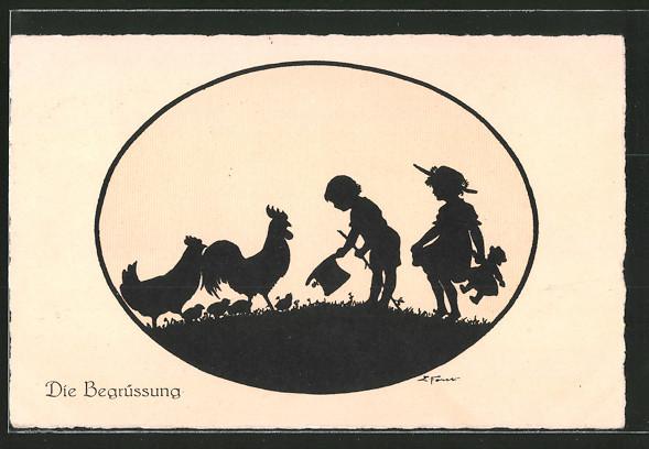 Künstler-AK Elsbeth Forck: Schattenbilder, Die Begrüssung, Kinder mit Hühnern