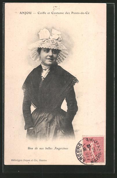 AK Anjou, Frau aus Ponts-de-Cé in Tracht mit Haube