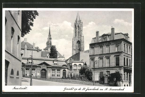 AK Maastricht, Gezicht op de St. Janskerk en St. Servaeskerk