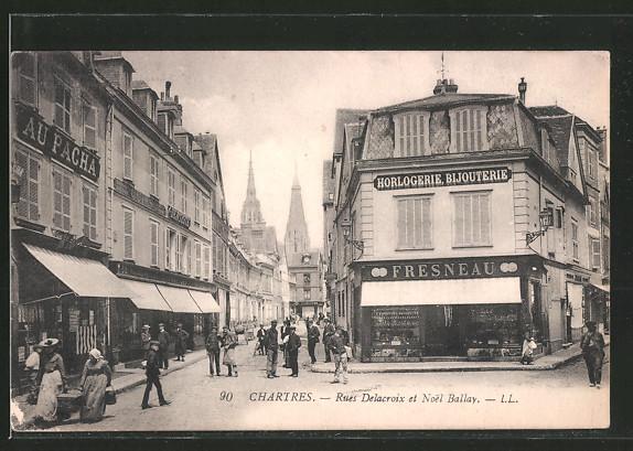 AK Chartres, Rue Delacroix et Noel Ballay
