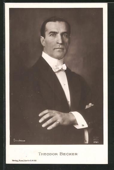 AK Schauspieler Theodor Becker, Portrait im Frack